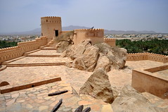 Fort on a rock (charlottehbest) Tags: mountains sunshine weather architecture clouds palms scenery view fort exploring awesome dates oman fortress turrets nakal nakhal nakhalfort nakalfort