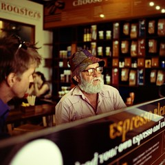 Old man in Cafe (Unbendable Girder) Tags: street camera old portrait man colour 120 6x6 tlr film coffee rolleiflex lens t diy cafe kodak twin australia queensland medium format portra townsville dominion 400iso c41 400nc tetenal bestof2012