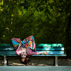 if you don't like your world turn it upside down (laura zalenga) Tags: nature face garden bench munich square colorful hand dress arm bokeh path 2012 laying laurazalenga