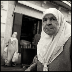 Tangier woman (joanpetrus) Tags: street people bw 6x6 lumix hijab nb bn morocco soul pancake 20mm marruecos dignity marroc