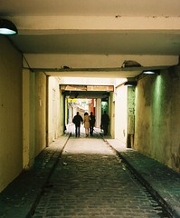 Cobbled alley, by J L Sinclair (Jelausin) Tags: street paris slr 35mm photography spring alley minolta documentary cobbles