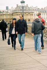 Hand in Hand, by J L Sinclair (Jelausin) Tags: street bridge people paris slr film 35mm photography spring couple minolta documentary