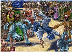 2 Samuel 6 - The Ark brought to Jerusalem - Scene 05 - David dances (Martin Young 42) Tags: road david king dancers dancing jerusalem crowd horn tambourine ark 2samuel levites 2samuel61415 coventant trumpethebrews