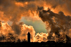 A quiet evening (W.P.K) Tags: sky holland tower water netherlands dutch silhouette skyline landscape fire photography photo nikon time watertower stock nederland dramatic end meerkerk stockphoto stockphotography apocalyps d90 wpk wpk2