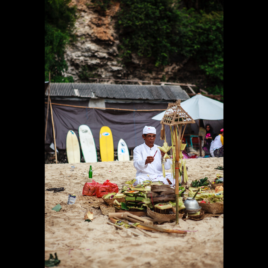 The Galungan Ceremony, Padang Padang Beach, Bali