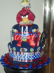 Angry Birds Towel Cake (babybizcakes) Tags: birthday blue red party cakes birds cake graduation towel angry centerpiece