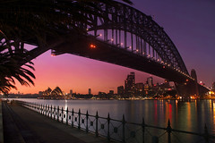 Sydney Harbour Sunrise || SYDNEY CITY (rhyspope) Tags: ocean city bridge blue sea panorama orange house color colour reflection water silhouette yellow ferry skyline night canon landscape lights bride evening coast boat marine opera cityscape afternoon harbour ripple pano sydney wave australia quay wharf aussie harbourbridge circular 500d rhyspope