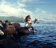Moment's Drift (Sophia Alexis) Tags: alexis sea water norway photoshop canon boats eos 50mm stones airplanes sigma 7d 365 sophia cs5