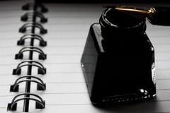Writer's Block (Katarina Evan) Tags: white black girl beautiful smart lines contrast ink book story brains novel writer write quill