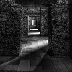 Layers of Light (Guanajuato, México. Gustavo Thomas © 2016) (Gustavo Thomas) Tags: light blackandwhite blancoynegro luz monochrome méxico doors shadows layers guanajuato sombras blancetnoir alhóndigadegranaditas