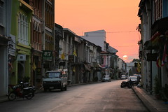 Good morning Phuket! (pooly7) Tags: road street city morning travel sky sun streets tourism architecture clouds sunrise canon thailand dawn town holidays asia glow quiet empty transport peaceful van phuket oldtown urbanscape streetcityscape travellinglens