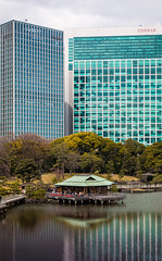 Traditional and New (Julian.Fisher) Tags: park city water japan skyscraper buildings garden tokyo march spring tall teahouse hamarikyu 2016