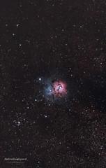 M20 - Trifid Nebula (AstroBackyard) Tags: camera sky cloud black night way star big hole space cluster sagittarius telescope nebula astronomy outer 20 messier universe bang milky nebular m20 trifid nebulae