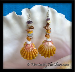 Beach Candy Gemstone Sunrise Shell Earrings MonicaByTheShore Shells Hawaii (MonicaByTheShore) Tags: shells art beach sunrise hawaii necklace surf gallery natural surfer shell jewelry surfing moonrise northshore bracelet hawaiian seashell earrings haleiwa rare aloha pendant seaglass puka sunriseshells keikibeach wyalnd monicabytheshore