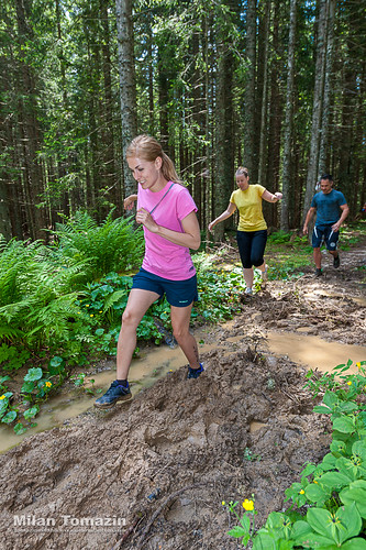 Pokljuka, Slovenia, 06.25.2016: The contestants took part in the race OVIRATLON obstacle CHALLENGE Pokljuka, Slovenia on 06.25.2016