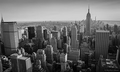 The New York (pixelexposed) Tags: newyork rockfellar topoftherock nyc cityscape city buildings towers blackandwhite skyline