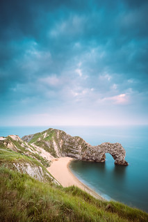 Cloud skies over Durdle Door, Dorset, UK