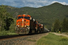 Afternoon Luck- Lothrop, MT (MinnKota Railfan) Tags: santa railroad blue mountain snow mountains electric burlington train river crazy montana general engine peak rail railway loco fork glacier clark link locomotive fe peaks division northern ge bnsf mrl raillink emd electromotive