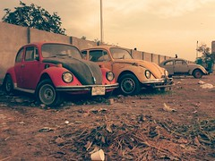 Old timers... (farrukhathar) Tags: old pakistan cars sepia volkswagen evening nokia rust beetle junkyard past lahore 2013 n73