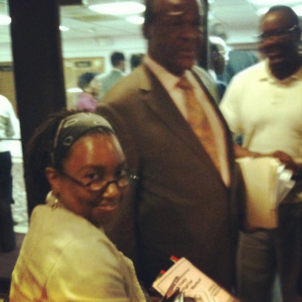 Sister Rashiah giving MARION BARRY a flyer for the Trayvon Martin Prayer Vigil