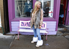 White boots and fur vest (rachelbujalski) Tags: winter snow cold fashion fur utah boots films documentary movies sundance coats coldweather parkcity jackets furboots