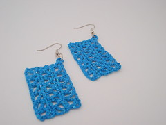 Crocheted Earrings No. 5 - Teal Blue Chip Glitz (PageByPaige88) Tags: blue diy turquoise teal crochet aquamarine craft jewelry earrings accessory cerulean starch yarncraft blogearringcoffeecozy