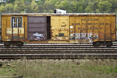 (This Car Excess Height) Tags: door old railroad oregon vintage bench foot graffiti steel tag company boxcar northwestern 50 fifty