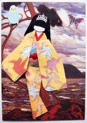 ATC949 - Resting on a boulder (#227 on EXPLORE, 1 April 2012) (tengds) Tags: sky bird water atc origami boulder geisha kimono obi origamipaper papercraft japanesepaper yelloworange papercranes ningyo handmadecard chiyogami explored japanesepaperdoll origamidoll tengds