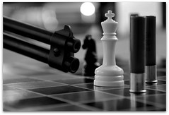 Checkmate!  [Explored #26] (Malena ) Tags: bw 22 gun king rifle chess knight bullets gotcha bwahaha nikond80 savagerifle malenafryarphotography