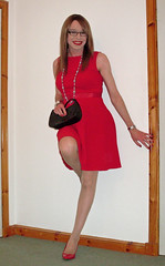 In The Red (Starrynowhere) Tags: red glasses shoes dress emma tgirl transgender tranny transvestite crossdresser
