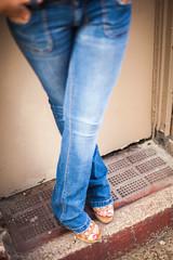Alex (pyathia) Tags: black alex girl fashion pose sweater purple top stripes jeans blonde tight striped lookbook dolman ootd
