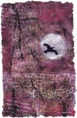 Bird Moon Art Quilt (Woods Whisperer) Tags: thread studio vermont heart stitch embroidery textile embellishment stitching fiberart fiber stitched embroidered embellished handstitched tapestry embellish textileart artquilt putneyvermont fiberartist tafa artcloth valdani valdanithread westminstervermont