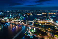 Dusk at Chaophraya river and Saphanphut bridge (Weerakarn) Tags: city longexposure bridge cruise light sky urban water night river landscape thailand boat twilight cityscape dusk bangkok watarun chaophraya  saphanphut    weerakarn