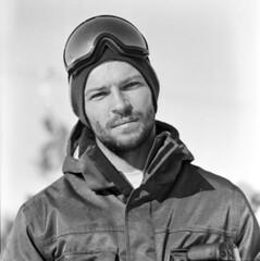 Yura in Ruka (OlaAlexandrova) Tags: winter bw man 6x6 kodak 400tx medium format portret snowboarder yura googles ruka