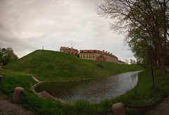 The Castle Of Nesvizh (lemmingby) Tags: panorama postprocessed building castle water evening travels dusk panoramic historic trips belarus moat stitched unescoworldheritage nesvizh otherwheres