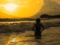 Swimming Day 1 (Chrisseee) Tags: travel sunset sea woman seascape beach wet water silhouette swimming canon landscape thailand evening drops jumping asia wave kohlanta lightroom klongdao canonpowershotd10 kristiinahillerstrm chrisseee