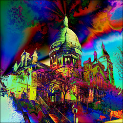Never Go upstairs to the Sacr Coeur if you're on Medication !!! (Pifou 2010) Tags: city light sky paris france art colors clouds fun town couleurs ciel vision lumiere monuments nuages multicolors ville 2012 artdigital lesacrcoeur gerardbeaulieu pifou2010 imagetrolled nevergoupstairstothesacrcoeurifyoureonmedication