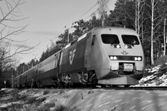 X2000 in regional Sweden (PJ Reading) Tags: snow countryside sweden sj passenger hsr highspeed x2000 swedishstaterailways