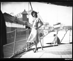 Miss Hera Roberts posing on the deck of HNLMS JAVA (Australian National Maritime Museum on The Commons) Tags: dutch artist illustrator sydneyharbour sydneyharbourbridge 1920sfashion vintagefashion dutchnavy 1930sfashion theaproctor vintagehats harbourscenes navalvessel royalnetherlandsnavy georgelambert hnlmsderuyter westcircularquay heraroberts womensvintagefashion hnlmsjava thehomemagazine samueljhoodcollection thekoninklijkemarine hnlmseversten dutchnavyvisittosydney rearadmiralcckayser