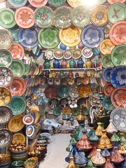 The colours of the souk (jonhuskisson) Tags: africa travel colour morocco marrakech souk plates colourful bowls