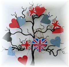 Have a Happy Jubilee Weekend (Darling Starlings) Tags: uk tree hearts jack artwork weekend jubilee union flags hallway queen metalsculpture bunting 60years metaltree diamondjubilee clanflickr keepcalmanddrinktea wychwoodtree christophertownsend