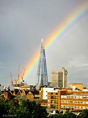 Jubilee Rainbow (syhs) Tags: city sky urban colour london window silhouette buildings landscape rainbow sony shard urbanscape tx5