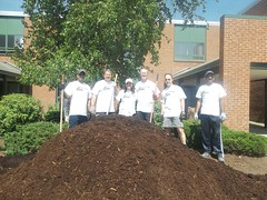 10 yards of mulch and the crew (GENBAND Day 2013) Tags: solutions volunteer communityservice applications teambuilding switching socialgood volunteerism telcommunications giveback genband unifiedcommunications ipcommunications corporategiving ipnetworking genbandday