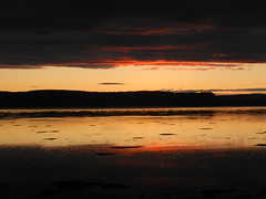 Darkness and Light, Moray Firth Sunset, Inverness, 2204pm, 4th June 2012, Explored#171 (allanmaciver) Tags: light sunset red orange black reflection water rain silhouette june dark gold watch special wait moray 2012 firth troubled 171 clour explored alturlie allanmaciver