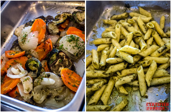 Penne with Creamy Pesto and Gratinated Vegetable Tian at Mario's Sunday Buffet
