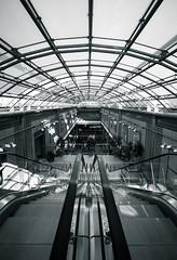 Flucht (Markus Kolletzky) Tags: sw dach glas rolltreppe linien fluchtpunkt