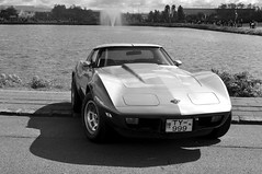 (Steini789) Tags: bw car blackwhite pond automobile sidewalk parked corvette 17jn jhtardagur