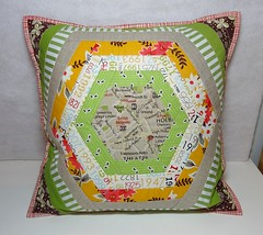 PTS#8 Hexie Pillow (Cottilello) Tags: green london log cabin map linen talk pillow fabric swap hexagon quilted patchwork cushion fmf hexie