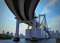 Rainbow Bridge look from sea,Tokyo Odaiba (sapphire_rouge) Tags: shore  japan   japanese fortress  beach seaside   bridge tokyobay  rainbowbridge coast bay aoumi    wangan rinkaihukutoshin kotoku