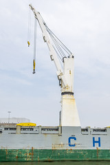 Crane on a ship (G. Warrink) Tags: boat rotterdam ship harbour transport cargo